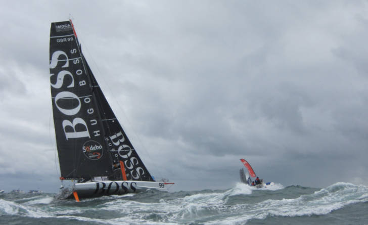 Hugo Boss yacht in heavy seas