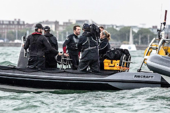 Sir Ben Ainslie onboard a Solent Rib Charter Rib with Shirley Robertson OBE
